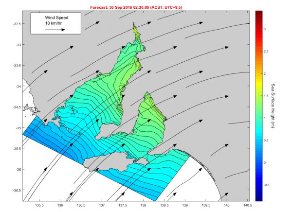 Figure 1: The above plot from the animation linked below, shows contours of sea level (black) that are plotted for the TGM at  5 cm intervals with an amplitude (in metres) shown by the right-side colour bar. The winds at the time are illustrated by the black arrows with that for a 10 km/hr speed indicated in the white box.