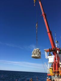One of the custom made concrete structures being lowered into place on the reef