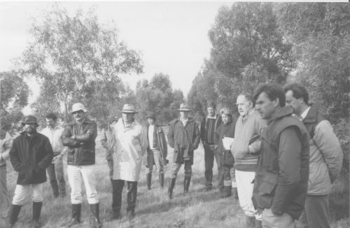 Farmers and agronomists attending a soil salinity workshop at a trial site near Jamestown in the 1970s.